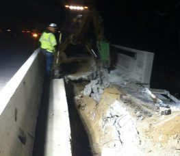 Night Crew team working on the Comm Relocation Excavation for pull box at Riverside Dr Bridge over Ventura Fwy (134)